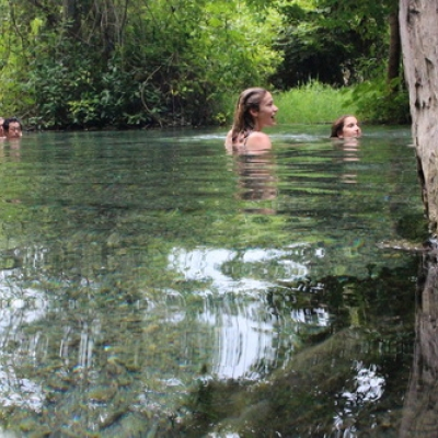 Soaking in mineral water pool